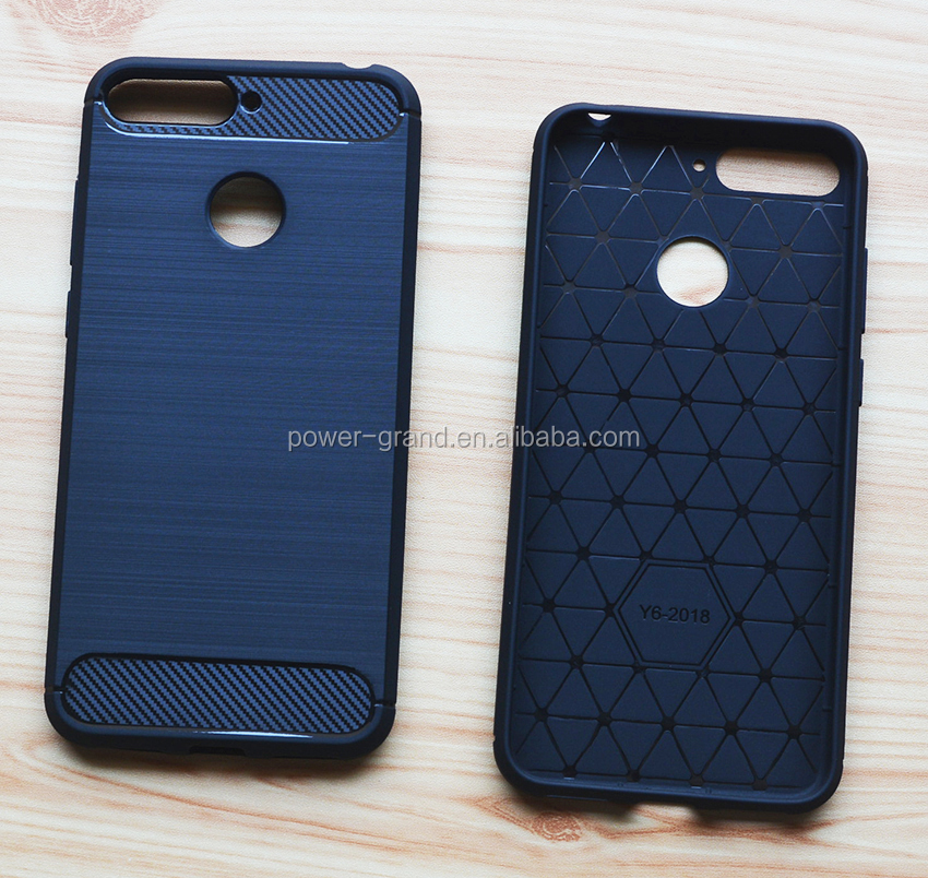 Wire drawing Shockproof Soft carbon fiber TPU Protective case cover for Huawei Y6 2018