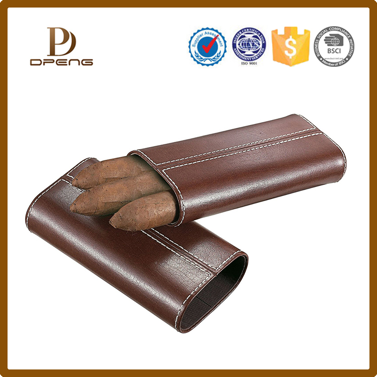 Top grade fashion handmade leather portable cigar case