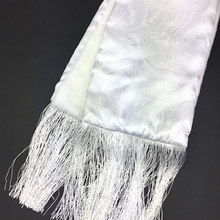 Silk Custom Print Muslim Scarves with Merino Wool Brushed Fringe Scarf