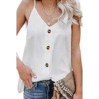 Women's casual v neck button front spaghetti strap backless linen loose cami tank tops