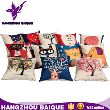 45x45cm Oriental Printed Linen Cotton Cushion Covers