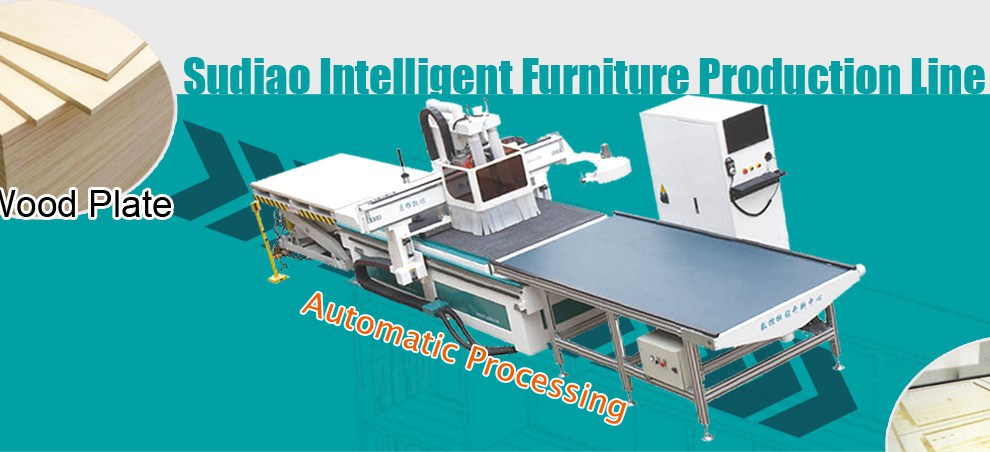 Sudiao atc wood cnc router automatic furniture production line SD-1224 for furniture cabinet cutting drilling