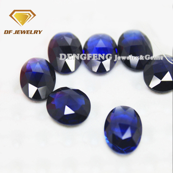 Oval shape blue sapphire synthetic stone for pendant necklace