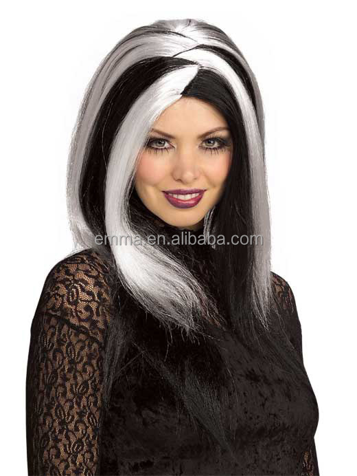 L Shape Deep Parting Long Wavy Heat Resistant Fake Hair Dark Roots Mix Color Two Tone Grey black wig W17111