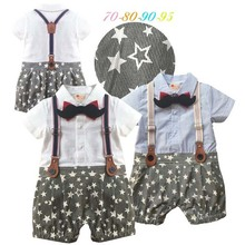 fashion infant baby romper cotton five star pattern newborn baby clothes in summer with tie