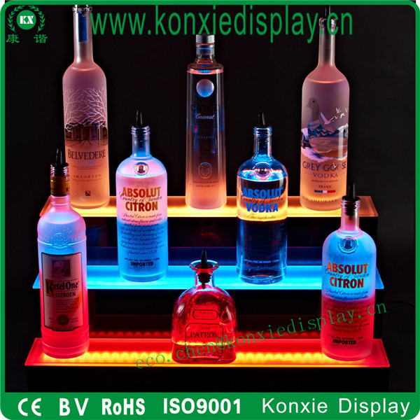 fashion acrylic LED wine beer bottle display stand rack shelf