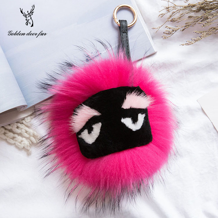 Real raccoon fur pom poms fur ball for keychain