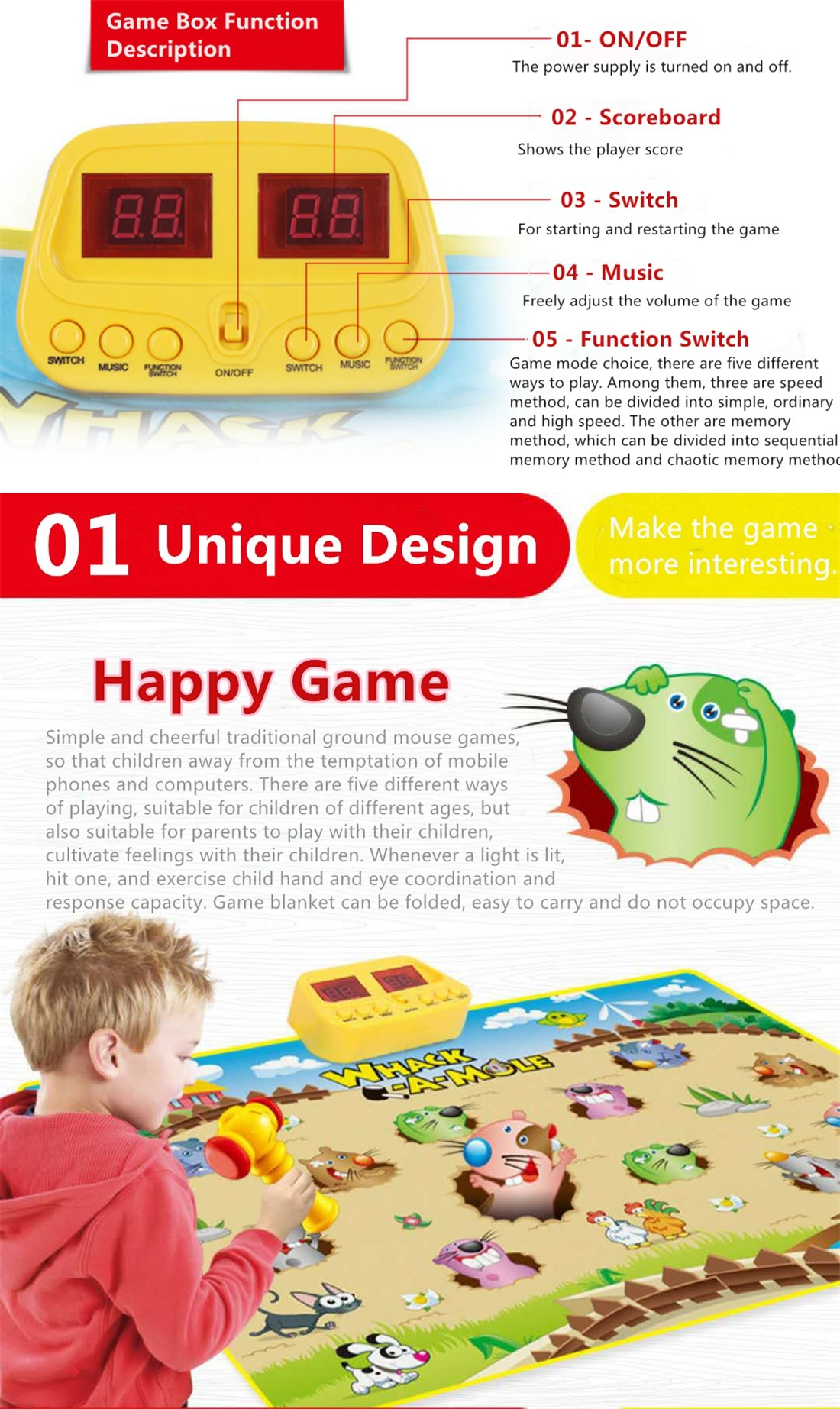 Most Popular And Educational Toy Children Play Mat With Funny Hamster Game
