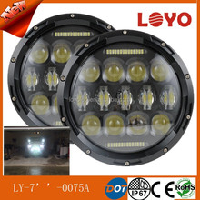"New Version 7"" 75W led headlamp for Jeep Wrangler black and chrome led headlight with hi/lo beam"