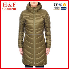 OEM women long down jacket cotton padded military winter jacket