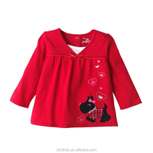 BKD baby little girls red V-neck long sleeve T-shirts