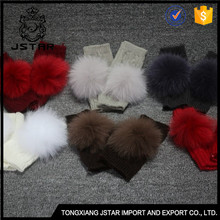 Rational Construction Gloves Cheap Knitted Real Fur Ball Mittens