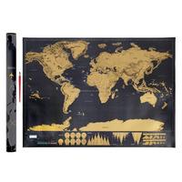 Travel Gift Hendry World Map - Erase Off Gold Foil