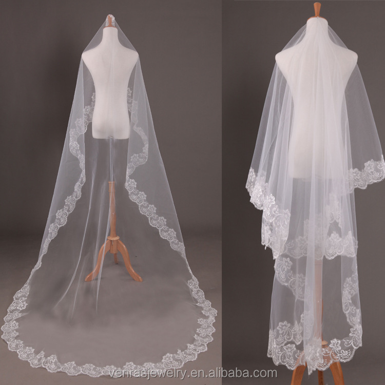 hot sale Wedding Veil Voile Mariage White 1.5 m Bridal Veils Without Comb Lace Trim Bridal Wedding Veil