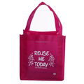 Fashion pink reusable reinforced handle grocery tote shopping non woven bag