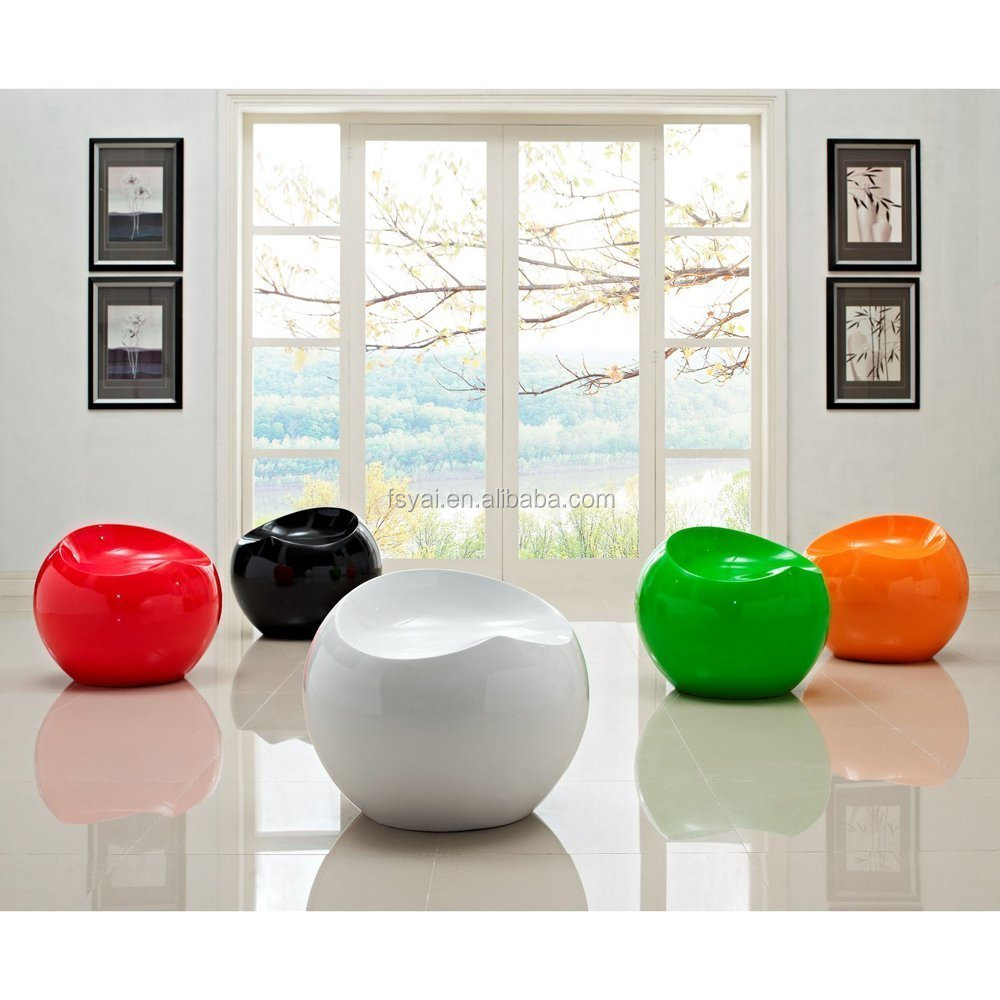 hot sale fancy design fashionable leisure apple shape Modern Classic fiberglass Finn Stone Ball Chair