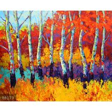 Newest Handmade Palette Knife Thick Paint Golden Autumn Tree Forest Landscape Oil Painting on canvas, Autumn Riches #88173