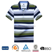 Classic model private brand contrast color breathable men's striped unisex original polo shirts