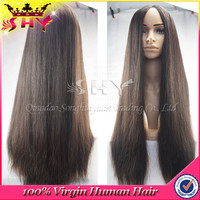Wholesale silky straight 28inches virgin human hair silk top full lace wig very long hair wigs