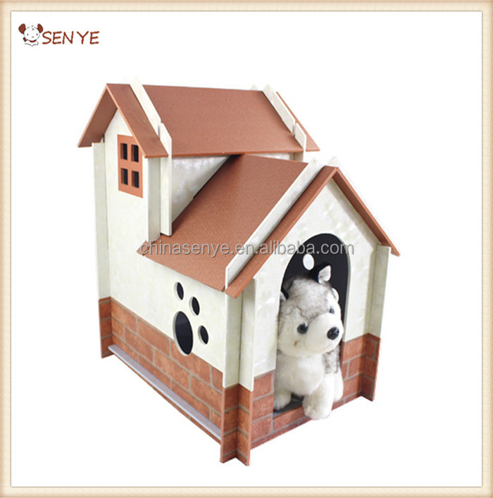 European Style Double Layer Luxury Dog House Wood With Wall Paper