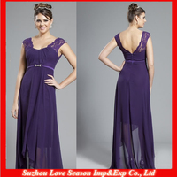 HM0015 New Patterns Crystal sash lace cap sleeve eggplant color chiffon short front long back sexy mother of the bride dress