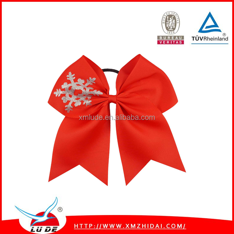 High Quality grosgrain ribbon hair bow with elastic band for kids