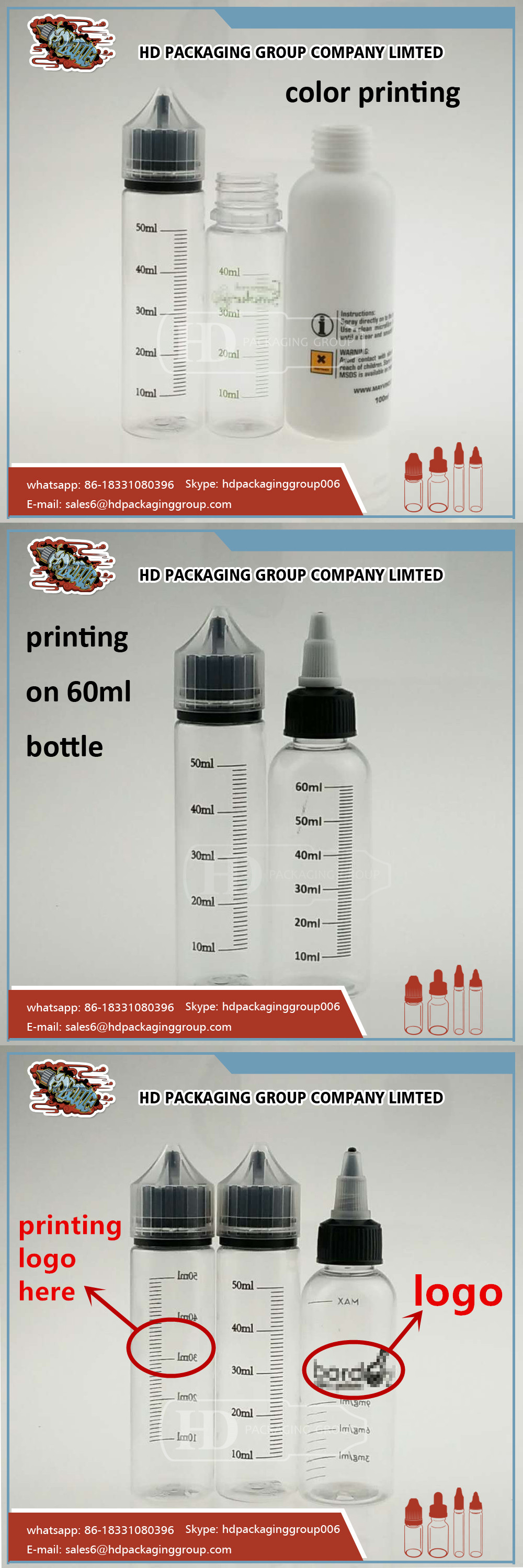 In stock measument printing DIY PET plastic e liquid bottle