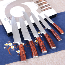 DKB010 6 pcs high quality VG-10 67 layer colour wood handle Damascus steel kitchen knife set