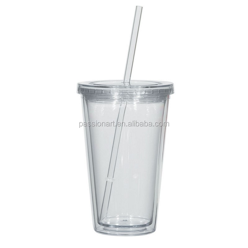 double wall acrylic cold drinking tumbler with straw