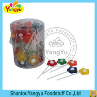 Mix fruits flavors flower shape muticolor sweet candy lollipop