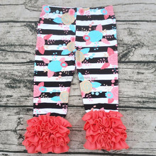 high quality fall girls boutique icings wholesale icing ruffle pants floral printed girls ruffle leggings