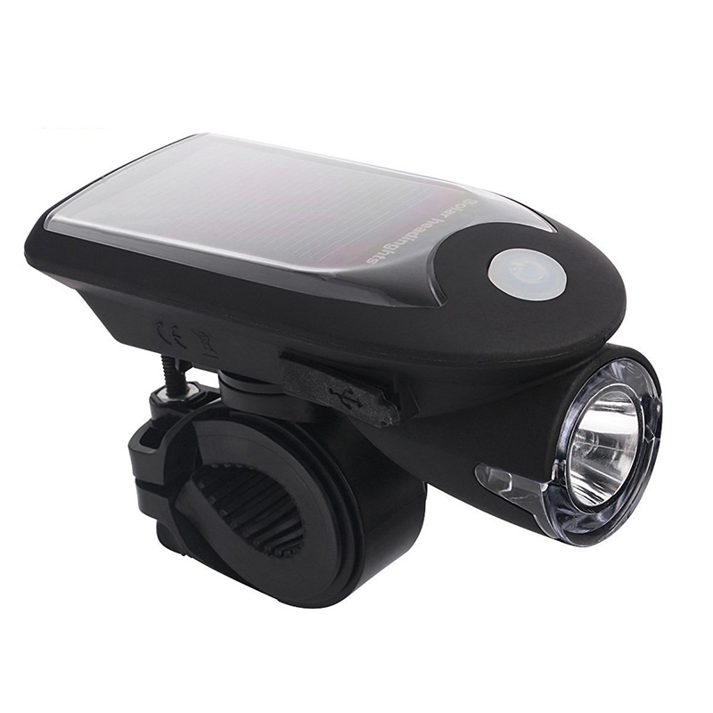 High quality Solar charging 240LM waterproof T6 light rechargeable led bicycle light for bike cycling equipment