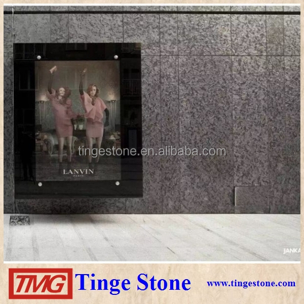 Matrix Black leather finish granite slabs For Luxury Houses