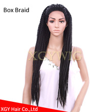 Stock cheap factory price price heat resistant fiber African American Glueless Box Braid synthetic hair braided lace front wigs