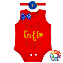 Sleeveless Cotton & Polyester Girls Romper Snap Crotch Christmas Jumpsuit Adorable Baby Bodysuit