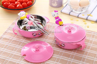Wholesale Free Shipping Cartoon Children's Dinnerware Chopsticks Spoon Bowl Kit Hello Kitty Kitchen Cooking Tools