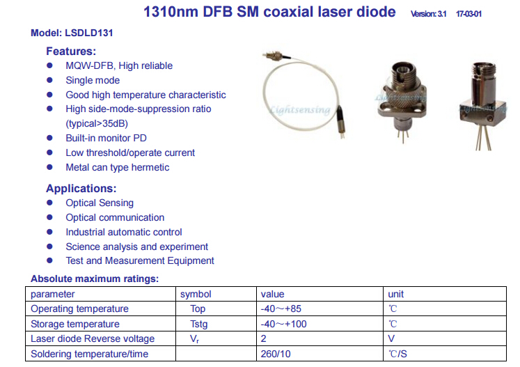 1310nm Dfb Laser Diode Fiber Output Power 4mw Coaxial In Stage