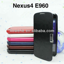 FL181 hot selling Business stand pouch leather case for google nexus 4 E960