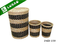 Wholesale cheap large round lidded eco-friendly lined houseware or hotelware wicker laundry basket hamper