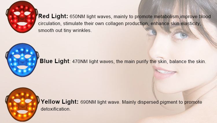Beauty Machine Tightening Skin Electrical Facial Mask 7 Photon Colors LED Facial Mask