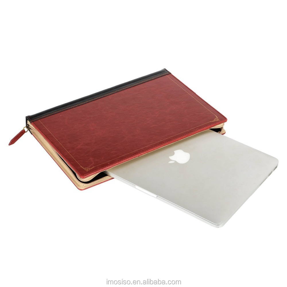 PU leather laptop case book stand folio carry case sleeve mosiso zipped sleeve for macbook 13