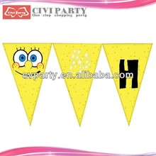 Popular paper party flags and pennants for party supplies gadsden car window flag with plastic pole
