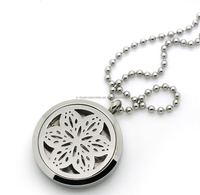 Stainless Steel flower aroma diffuser necklave locket pendant wholesale