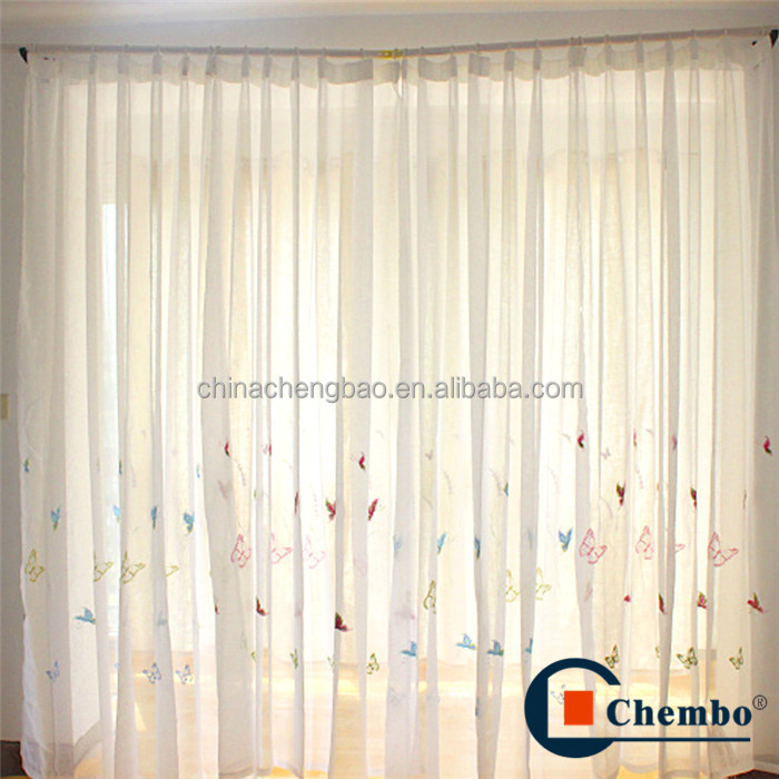 Embroidered butterfly designs tulle sheer curtain fabric
