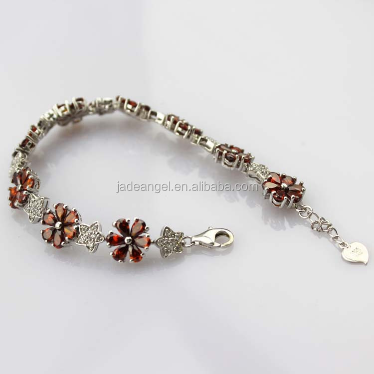 Sterling Silver Link Flower Garnet Tennis Bracelet for Women