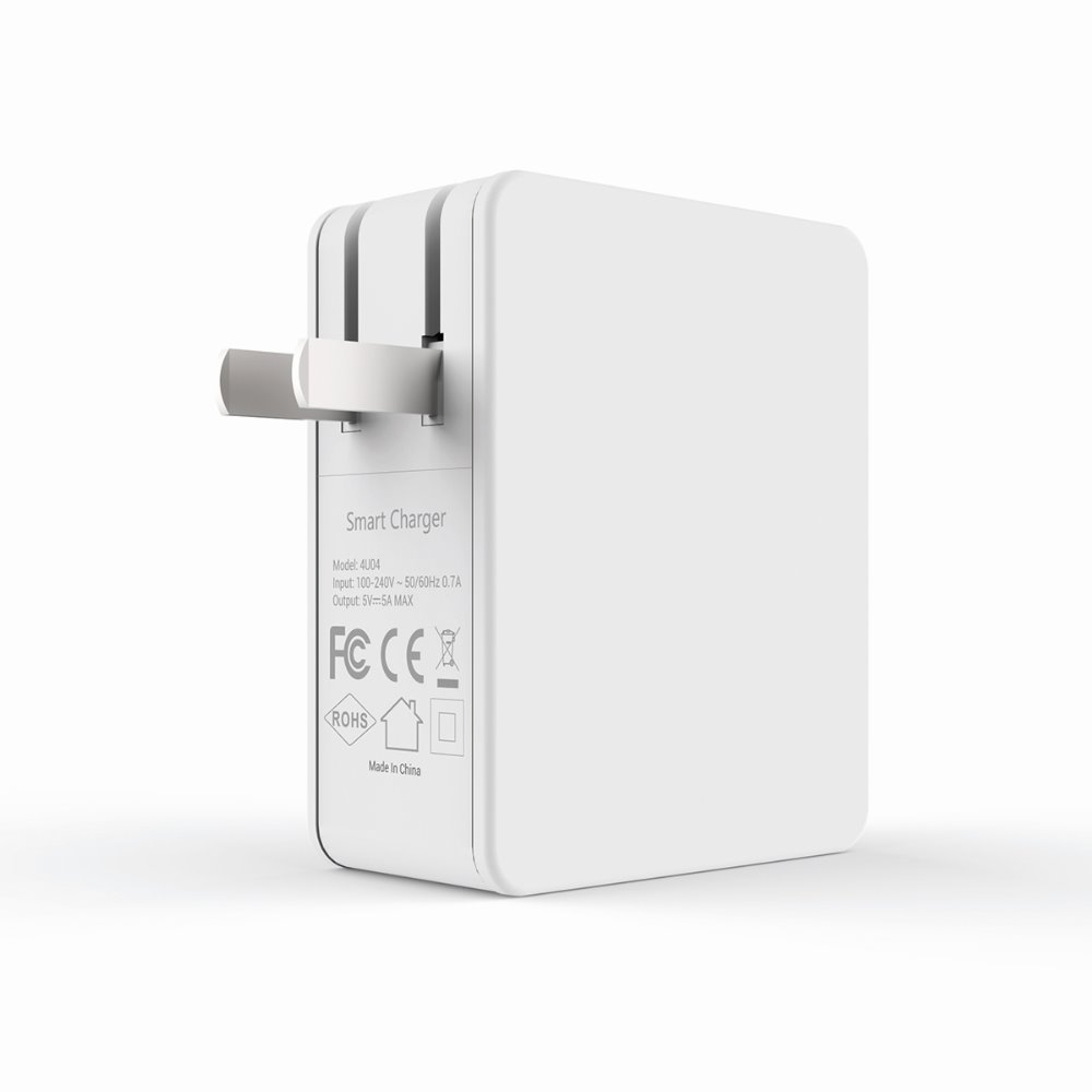 Adaptive fast US 4 port slim charger multiple usb wall charger