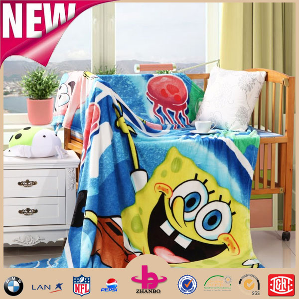 Sponge Bob Printed 100% Polyester Flannel Fleece Faux Fur Mink Children Frock Design Super Soft Warm Thick Throw Plush Blankets