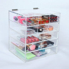 Upper 6 Compartment&2 Removable Divider Transparent Cosmetic Organizer Case, Custom Flip Top Acrylic Storage 4 Drawer For Makeup