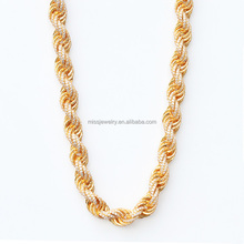 Dubai Diaomnd Gold Rope Chain Necklace Design For Men Iced Out Gold Rope Chain