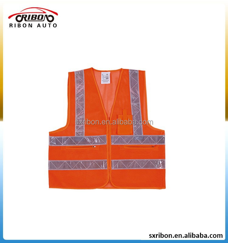 polyester mesh high visibility orange highway reflective safety vest with EN20471